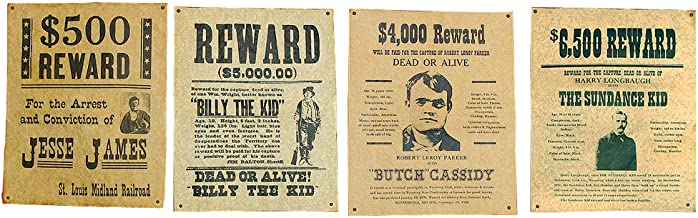 Jesse James, Billy the Kid, Butch Cassidy & The Sundance Kid Wanted Posters Set