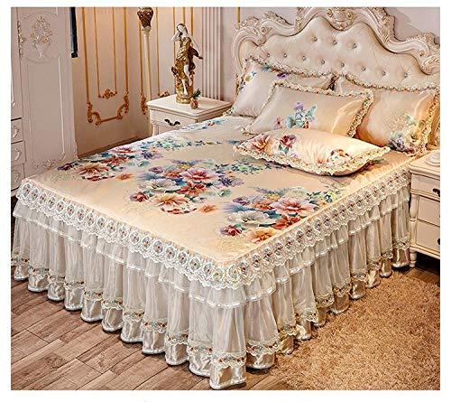 LANG ZI Lujosas Faldas de Cama de Verano, Colcha Helada, Colchón de Encaje de Capa Doble/Individual, Funda de Colchón Lavable a Máquina. (Color : A, Size : 180 * 200CM)
