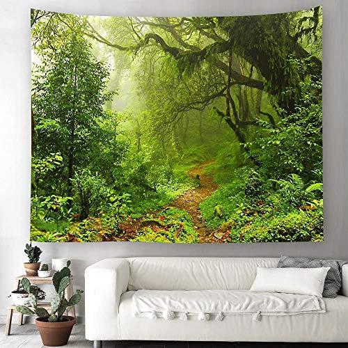 Grün Wald Dschungel Wandteppich Natur Landschaft Wandbehang Tapestry Tapisserie Dekotuch Wandtuch Tischdecke Strandtuch 230x150cm