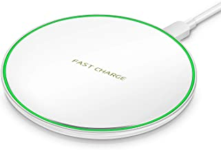 Wireless Charger Fast Ultra Slim 10W Wireless Charger White Qi-Certified,Universal Wireless Charging Station Pad Compatible for Smart Phones (No AC Adapter)