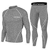 1Bests Conjunto de deportes para hombre de compresión + pantalones ajustados a la piel de manga larga para fitness de secado rápido - gris - Medium