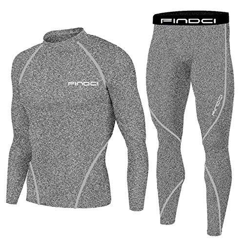 1Bests - Juego de 2 piezas de entrenamiento, camuflaje, para correr, con mallas, para hombre, secado rápido, New Grey, small