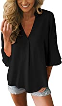 Dokotoo Womens 3 4 Bell Sleeve V Neck Chiffon Tops Casual Solid Blouse Loose Shirts S-XXL