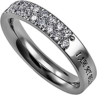 Covenant Pave Ring I AM My BELOVED'S and HE is Mine Stainless Steel Christian Bible Scripture Jewelry