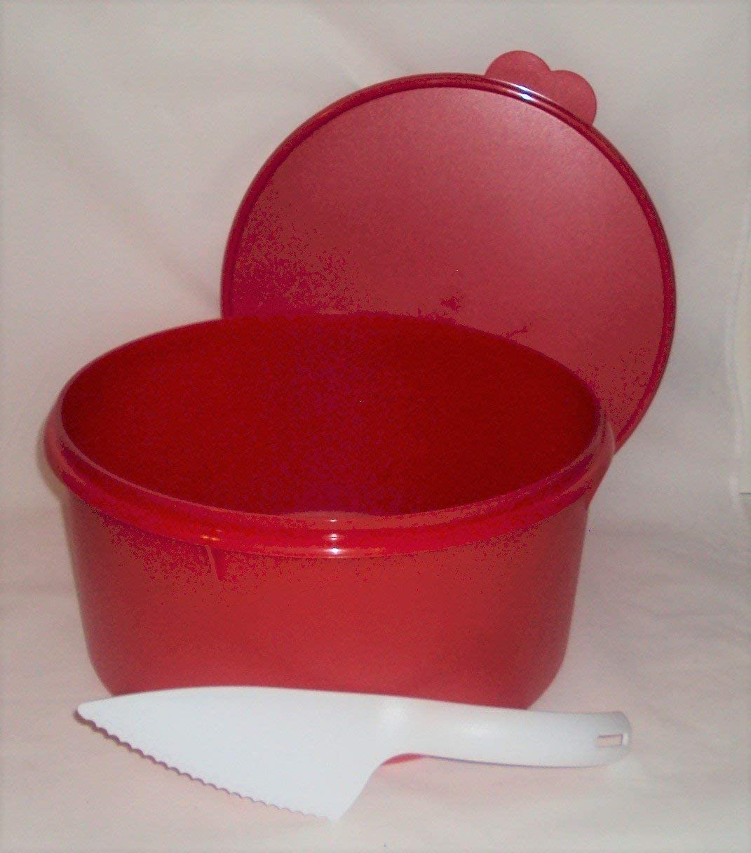 Industry No. 1 Tupperware Huge 12 In Holiday Red Canister Cake Max 66% OFF Pie Taker Double