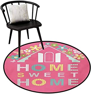 Dining Room Bedroom Carpet Floor Mat Home Sweet Home,Abstract Roof and Window Surrounded by Colorful Flowers and Butterflies,Dining Room Bedroom Carpet Floor Mat 35