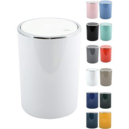 MSV Salle de bains Série Aspen Design Poubelle salle de bains Poubelle à pédale Poubelle Push à couvercle basculant Récipient à ordures à couvercle oscillant 6 Litres (ØxH): approx. 18,5 x 26 cm Blanc