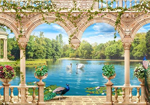 wandmotiv24 Fototapete Garten Säule See XL 350 x 245 cm - 7 Teile Fototapeten, Wandbild, Motivtapeten, Vlies-Tapeten Pavillon, Blumen, Schwan M1215