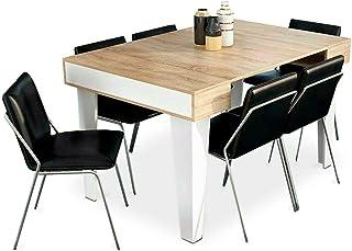 Comfort Products SelectionHome - Mesa Consola Comedor Mesa Cocina o recibidor Acabado en Blanco Mate y Roble Cepillado M...