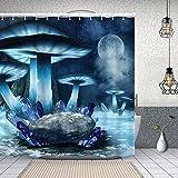 YANAIX Cortina Ducha Impermeable,Cuento de Hadas Bosque de Setas Lago congelado Roca,Impresión de Cortinas baño con 12 Ganchos 180x180cm