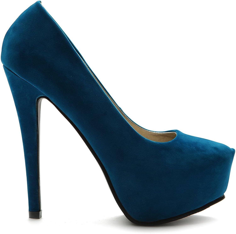 Ollio Women's shoes Platform Faux Suede Point Toe Classic High Heel Multi color Pump