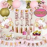 Baby Girl Shower Decoration 101PCS Baby Girl Shower Decorations Baby Girl Decorations for Shower with It'S A Girl Baby Shower Banner Baby Girl Balloons Tissue Pom Poms Lanterns Flowers Tassels Straws