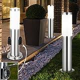 3er Set Steh Leuchten Außen Steckdosen Edelstahl Stand Lampen im Set inklusive LED Leuchtmittel