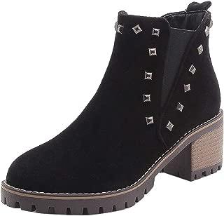 ELEEMEE Women Block Heel Chelsea Boots