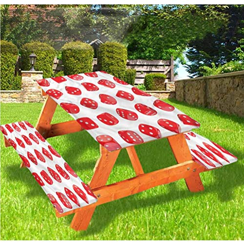 Casino - Housse de table et banc de pique-nique, motif de dés réaliste - Bordure élastique - 28 x 72 cm - Ensemble de 3 pièces pour le camping, la salle à manger, l'extérieur, le parc, la terrasse