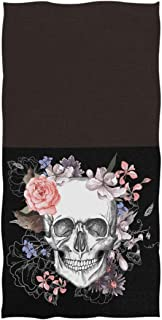 Naanle Chic Skull and Flowers Day of The Dead Style Pattern Soft Absorbent Large Hand Towels for Bathroom, Hotel, Gym and Kitchen (16 x 30 Inches,Black)