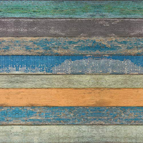 17.71' x 118' Wood Plank Contact Paper Wallpaper Distressed Wood Textured Peel and Stick Wallpaper Blue Green Yellow Strips Self-Adhesive Wallpaper for Walls Shelves Drawers Furniture Room