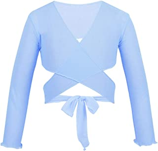 ACSUSS Kids Little Big Girls Mesh Wrap Bolero Long Sleeves Ballet Dance Sweaters Crossover Cardigan Shrug Tops