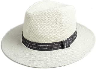 CHENDX High Quality Hat, Fashion Elegant Women Men Jazz Hat Sun Hat Handsome Panama Jazz Hat Wide Brim Straw Hat Beach Sun Hat (Color : Khaki, Size : 56-58CM)