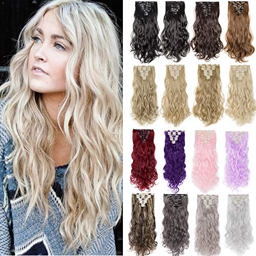 Silk-co Clip in Extensions wie Echthaar Haarteile Extension 8 Teile 18 Clips Günstig Haarverlängerung 43cm-140g Gwellt Hair Extensions #Blond & Bleichblond