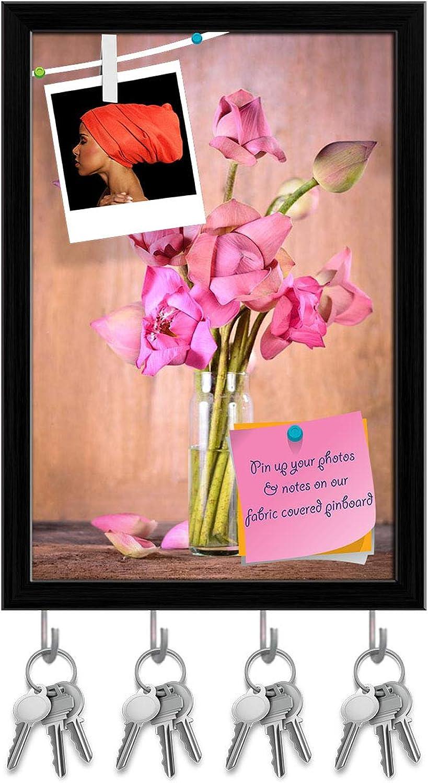 Artzfolio Pink Lotus Flowers Key Holder Hooks   Notice Pin Board   Black Frame 12 X 17.6Inch