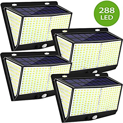YZAA Solar Motion Sensor Lights Outdoor with 288 LED IP65 Waterproof Wireless Security Solar Wall Lights for Backyard (4 Pack)