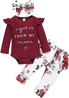 3 pièces Nouveau-né Infantile bébé Filles vêtements à Volants à Manches Longues Lettre Barboteuse + Jupe à Fleurs Pantalon...