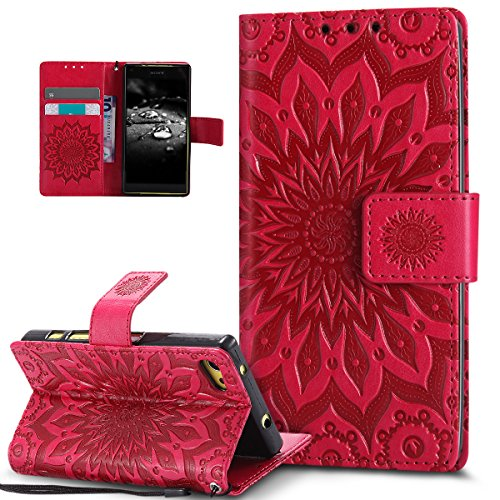 Kompatibel mit Sony Xperia Z5 Compact Hülle,Prägung Mandala Blumen Sonnenblume Muster PU Lederhülle Flip Hülle Cover Schale Ständer Etui Wallet Tasche Hülle Schutzhülle für Sony Xperia Z5 Compact,Rot