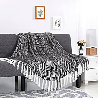 LANGRIA Cotton Geometrical Pattern Blanket Throw with Tassels For Chair, Couch, Picnic, Camping, Beach, Everyday Use, Easy Care Machine Washable Blanket(50 x60 , Black)