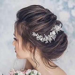 Ushiny, fascia per capelli a forma di rampicante con strass, accessorio per capelli per donne e ragazze. (argento).