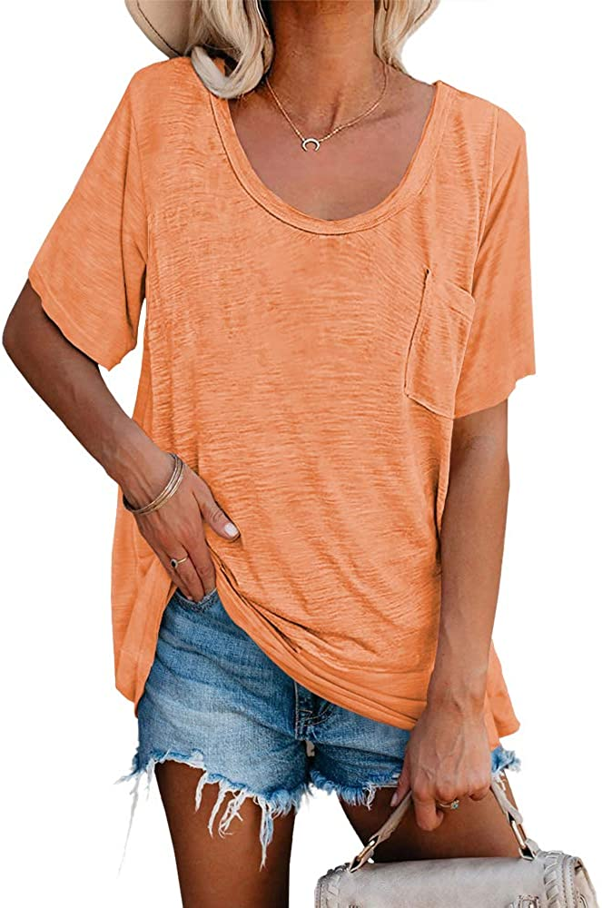 Womens Tunic T Shirts Short 70% OFF Outlet Popular overseas Soft Neck Sleeve Loose Round