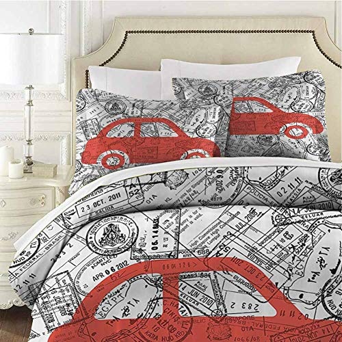 QIAOQIAOLO Cartoon Bedding Sets Full, Little Car with Travel Themed Passport Stamps Background Abstract Design (1 Duvet Cover + 2 Pillowcases) Warm Bedding Black Orange White