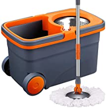 Spin Mop & Bucket Floor Cleaning System, Household Cleaning Supplies Stainless Steel Mop Bucket for Home Commercial Cleaning