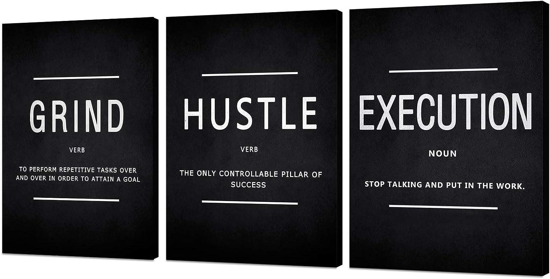 Inspirational Wall Art Office Bedroom Decor Motivational Wall Art Canvas Posters Prints Entrepreneur Bundle Set 3 Pieces Inspirational Grind Execution Hustle (Grind1, 12