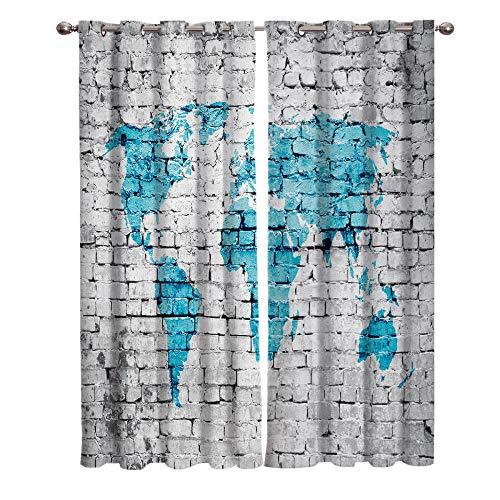 ERBWB Vorhang mit Ösen Graue Wand, Blau Microfaser Vorhänge 2 Stück Verdunklungsgardinen für Wohnzimmer...