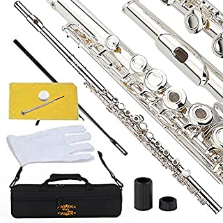 Glory Silver Plated Intermediate Open/Closed Hole C Flute with Case,Tuning Rod,Polish Cloth,Joint Grease,a pair of Gloves and screw driver
