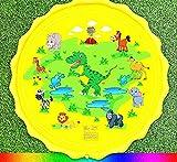 Aerlan Baby Pool Pad,lustiges Spielzeug Sprinklerpool,Dinosaurier Hai Wassersprühkissen Wasserspielzeug Regenbogen Sprühkissen-Gelb S170