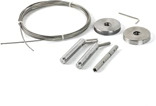 Curtain Wire Rod Set Stainless Steel, Multi-purpose, 16.5' Wire, 2 Mounting Pieces