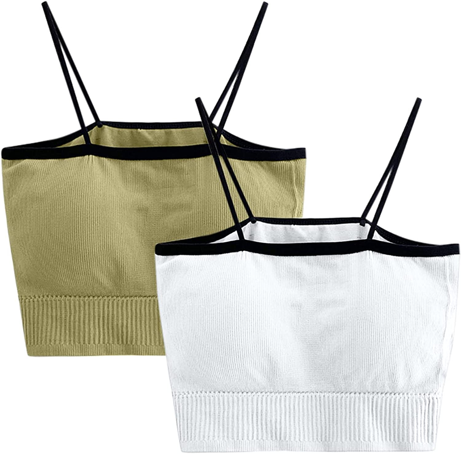 A2A Ribbed Knit Crop Top Tank for Women 2pc Solid Color Bra Seamless Padded Camisole Bandeau Tube Bra with Elastic Straps