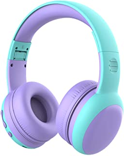 gorsun Bluetooth Kids Headphones with 85dB Limited Volume, Children's Wireless Bluetooth Headphones, Foldable Bluetooth Stereo Over-Ear Kids headsets - Purple