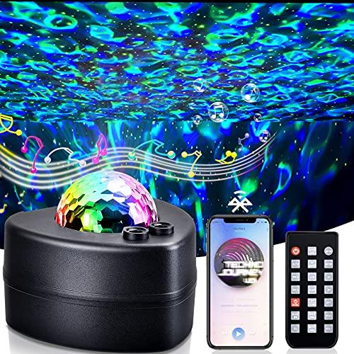 TEPILOS LED Sternenhimmel Projektor, Ozeanwellen Projektor Nachtlicht mit Fernbedienung/Bluetooth 5.1/Timer Geeignet für Kinder Erwachsene Party Weihnachten Ostern