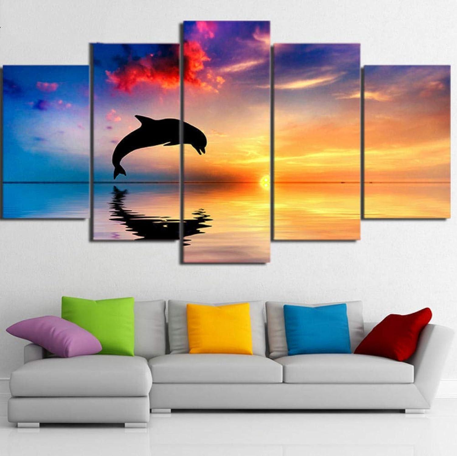 popular Tengya Wall Art Art Art HD Impreso Lienzo 5 Panel Dolphin Sunset Paisaje Decoración del Hogar Pinturas Modernas Posters -Frame  selección larga