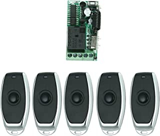 OWSOO Control Remoto Universal Módulo de Receptor RF 433Mhz DC 12V Mini 1CH Inalámbrico Interruptor de Control + 5PCS RF 433 MHz Mandos a Distancia del Transmisor 1527 Chip
