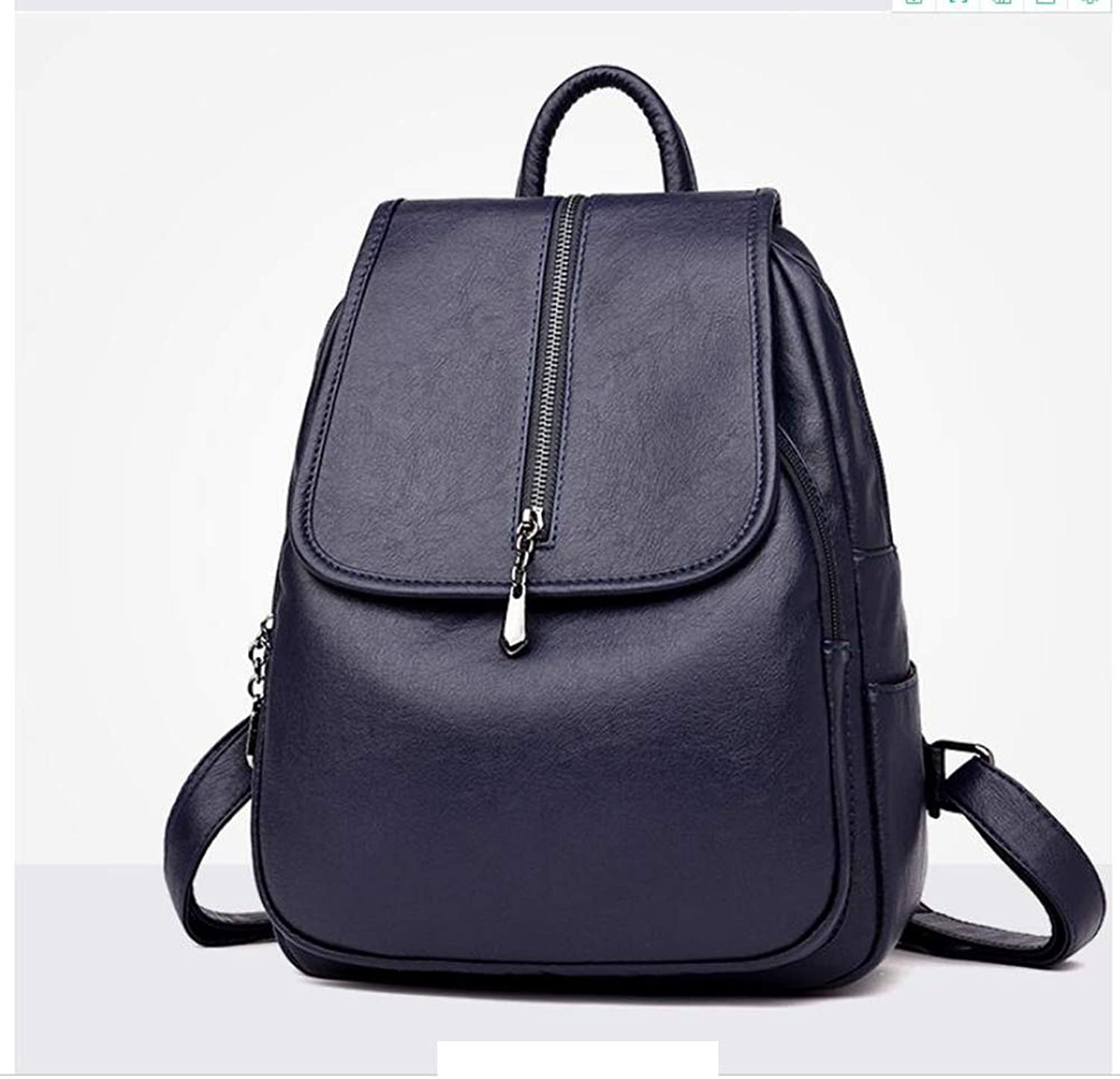 Fashion Ladies Shoulder Bag 2018 New Korean Version of The Bag Trend Travel Large Capacity Simple Soft Leather Mummy Backpack