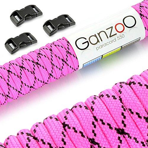 Ganzoo Paracorde 550 Corde avec Fermeture, pour Bracelet ou Collier de Chien, 15 mètres