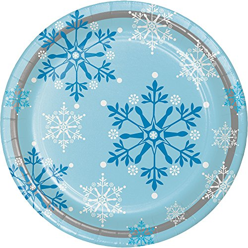 Creative Converting 8 Count Sturdy Style Round Paper Plates, 8.75, Snowflake Swirls (317150)