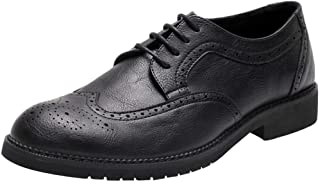 PengCheng Pang Business Oxford for Men Formal Dress Shoes Lace Up Microfiber Leather Waxy Shoelaces Wingtip Brogue Carving Point Toe Cushioning Insole (Color : Nero Nemesis, Size : 8 UK)