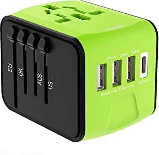 Full-Featured International Travel Adapter/Charger,USB Type Plug,Applicable to Mobile Phones, Tablet Computers, Digital Cameras, MP3, Laptops and All Other Equipment (Green)
