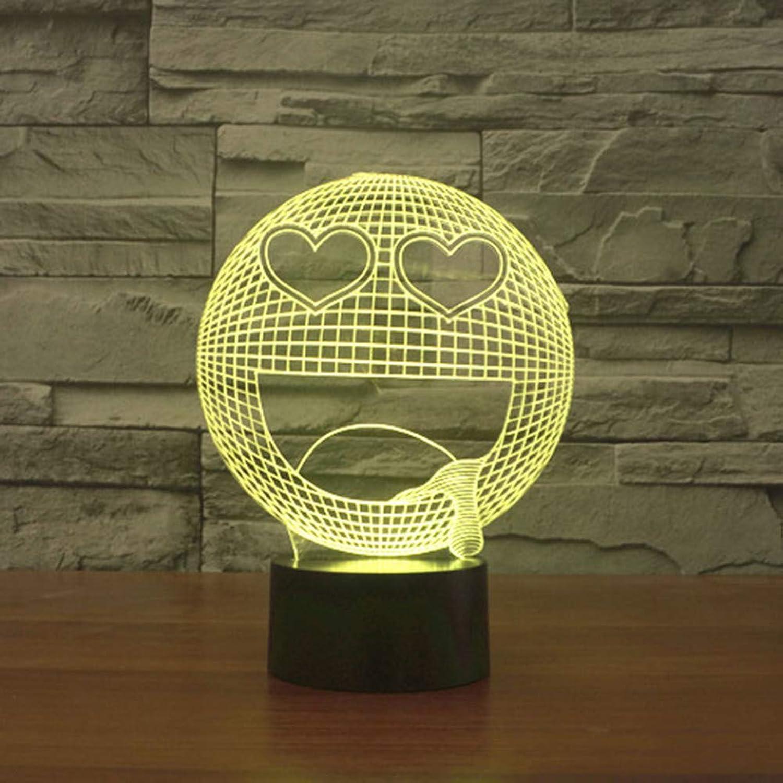 Laofan 7 Farben Schlaf Beleuchtung 3D Tischlampe Stern Auge Glückliches Lcheln Gesicht Schlafzimmer Ausdruck Nachtlicht Für Kinder Geschenke,Remote und berühren
