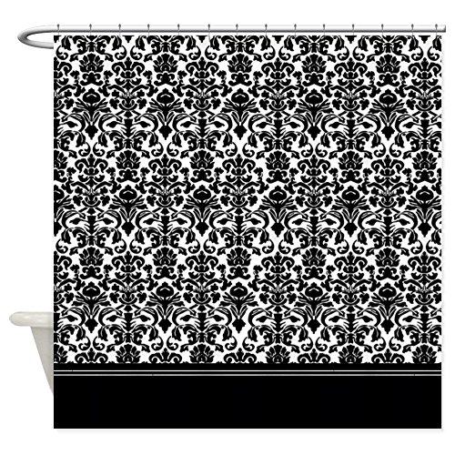 "CafePress Black Damask Decorative Fabric Shower Curtain (69""x70"")"